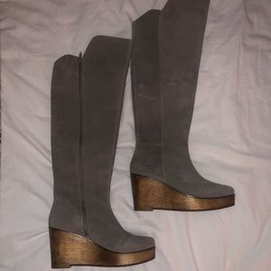 Anthropologie Knee High Wedge Boots
